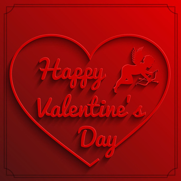 3d red heart happy valentine day background