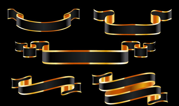3d ribbon sets with black and yellow background
