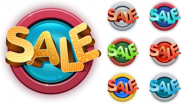 sale labels templates 3d texts shiny circles design