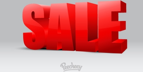 3d sale sign on gray background