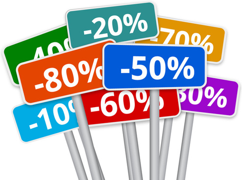 3d selection of multicoloured discount signs