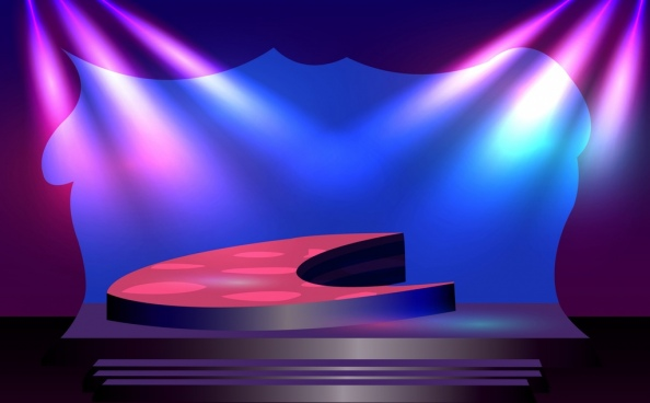 3d stage design violet light decor modern style