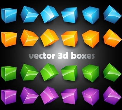 decorative boxes icons modern 3d shapes sketch