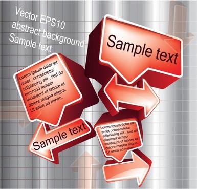 3d stereo dialog box arrow vector