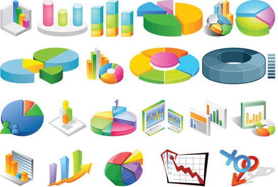 3d stereo statistical analysis chart vector