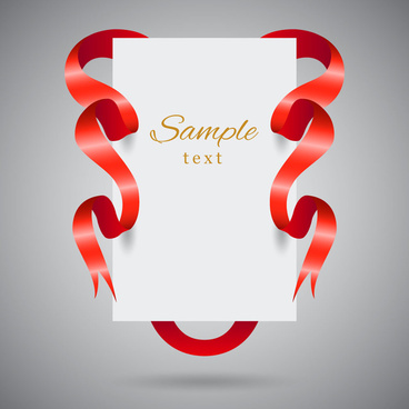 3d template with red ribbon around white sheet
