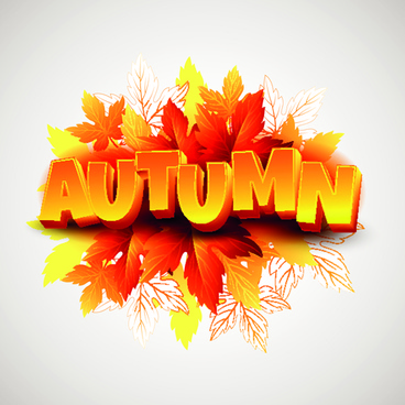 3d text and autumn leaves background vector