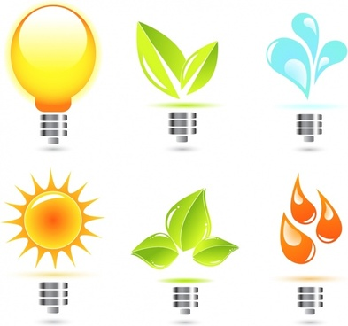 eco design elements lightbulb leaf sun droplet icons