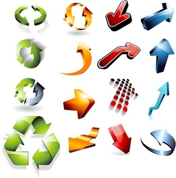 colorful arrow icons sets various 3d shapes