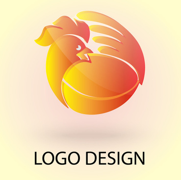 3d vector chicken logo design