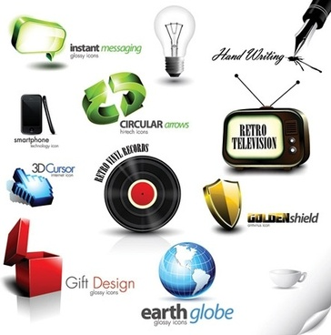 logo sets design 3d colored style