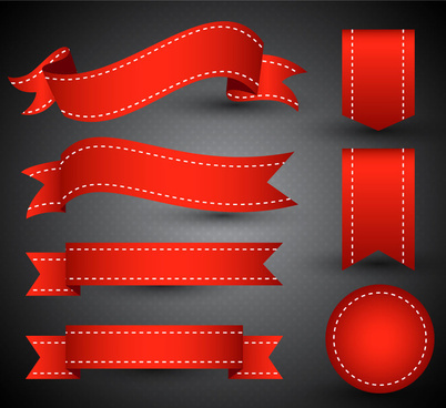 3d vector illustration of curved red ribbon sets