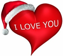 3d wearing christmas hats heartshaped picture