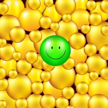 3d yellow circles background emotional icon decor