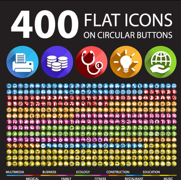 400 society flat icons vector