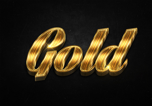 42 3d shiny gold text effects preview