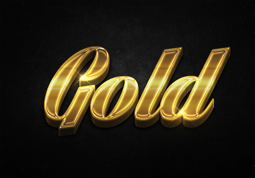 44 3d shiny gold text effects preview