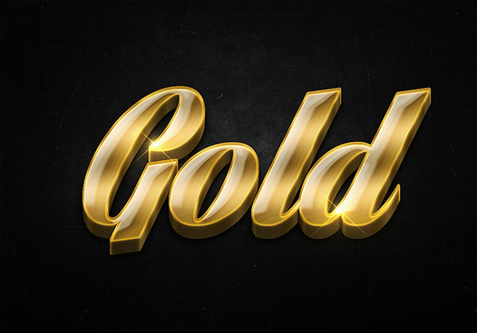 45 3d shiny gold text effects preview