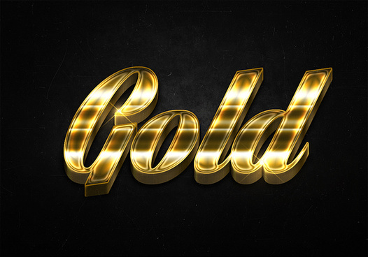 48 3d shiny gold text effects preview