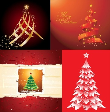 4 beautiful christmas tree vector