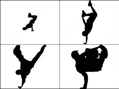 4 black break dancers brush