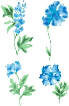 4 blue watercolor style flowers psd