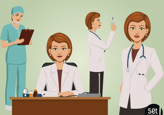 4 cartoon female doctor vector