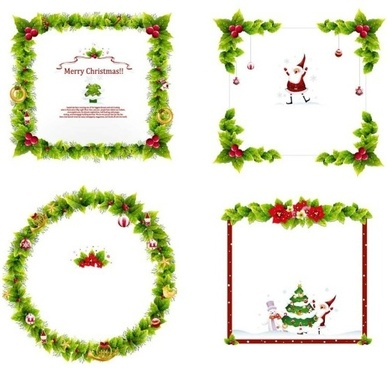4 christmas wreath border vector