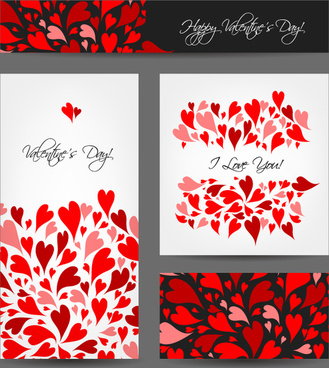 4 colorful red love card vector