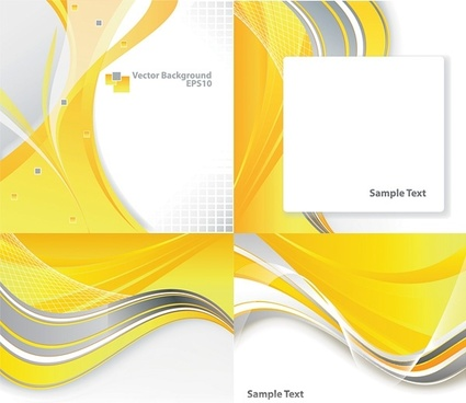4 dynamic curves yellow background vector