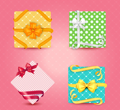 4 fresh gift box packaging vector
