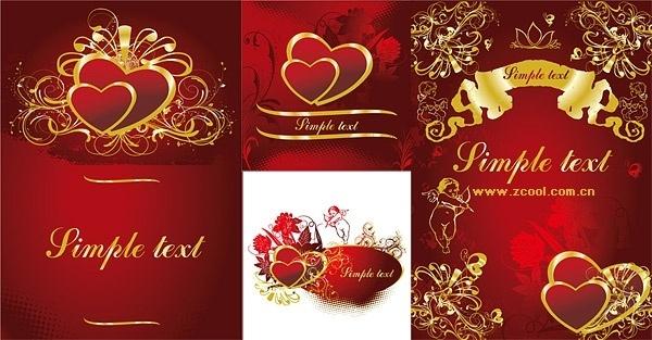 4 gold heartshaped pattern vector
