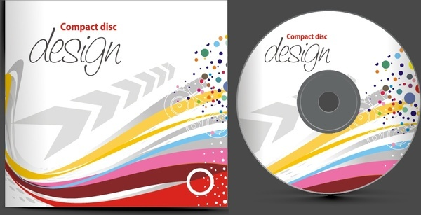 disc cover template dynamic colorful curves arrows decor