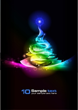 christmas background dark colorful dynamic sparkling tree icon