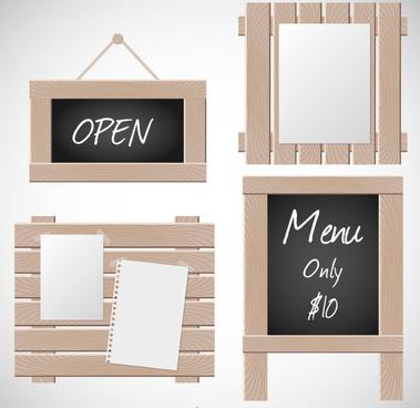 4 practical wooden card design vector