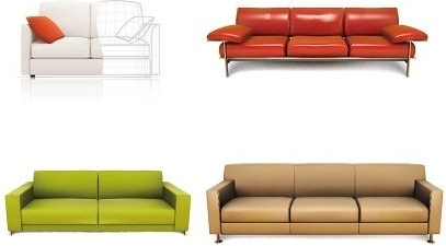 sofas icons collection various colored sketch
