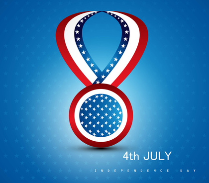 4th july badge ribbon of american independence day