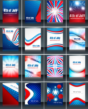 4th of july american independence day collection card set celebration template brochure presentation vector