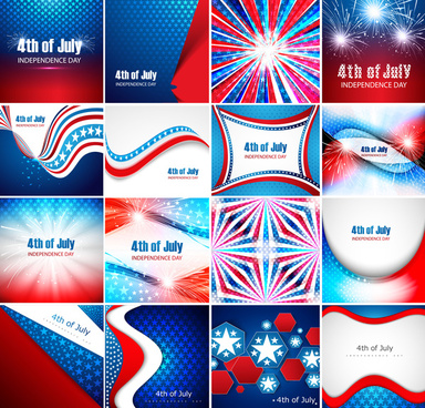 4th of july american independence day collection card set presentation celebration background vector