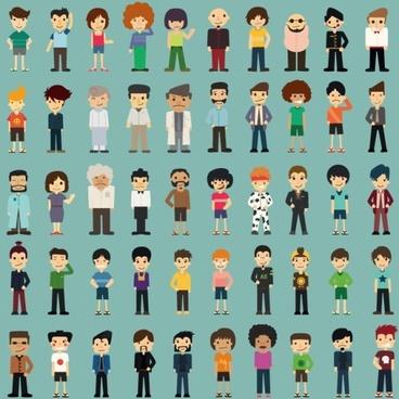 50 kind cartoon characters vector