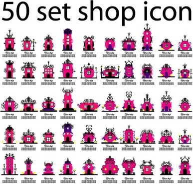 50 kinds of store icon vector
