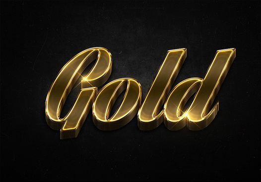 52 3d shiny gold text effects preview