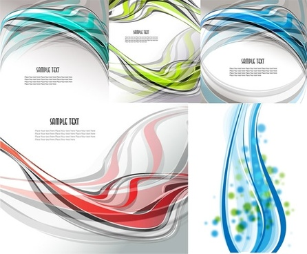 5 beautiful dynamic lines of the background vector