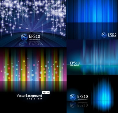5 beautiful light vector background