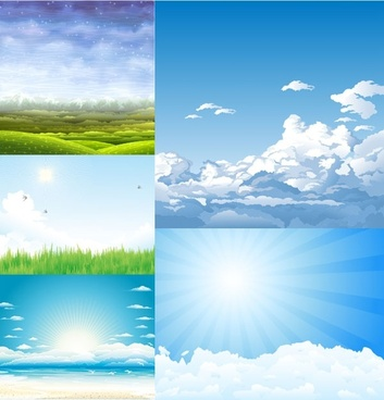 5 beautiful sky theme vector