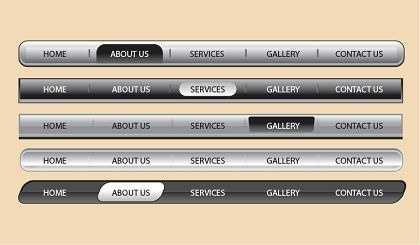 webpage tool bars collection shiny grey horizontal design