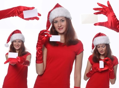 5 christmas girl holding a blank card picture