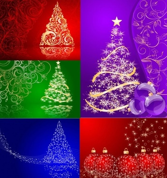 5 christmas vector background