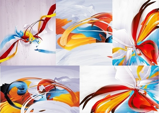 5 colorful abstract background of vector graphic
