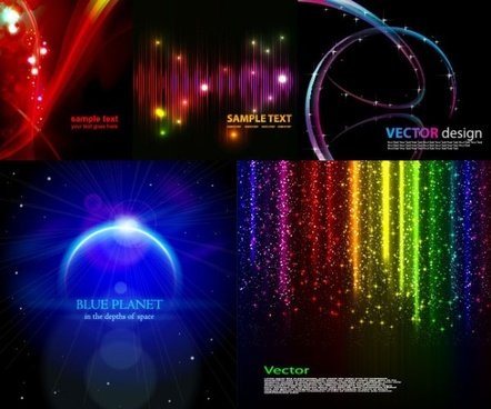5 cool glare background vector